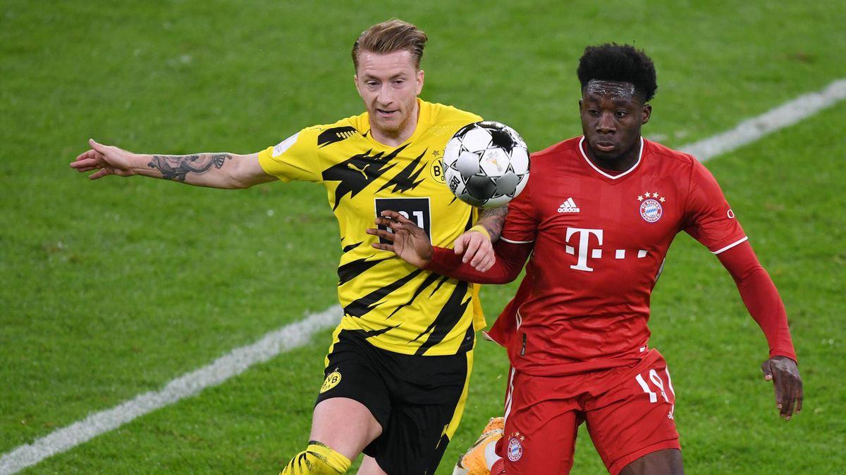 Marco Reus und Alphonso Davies beim Supercup-Duell FC Bayern - BVB