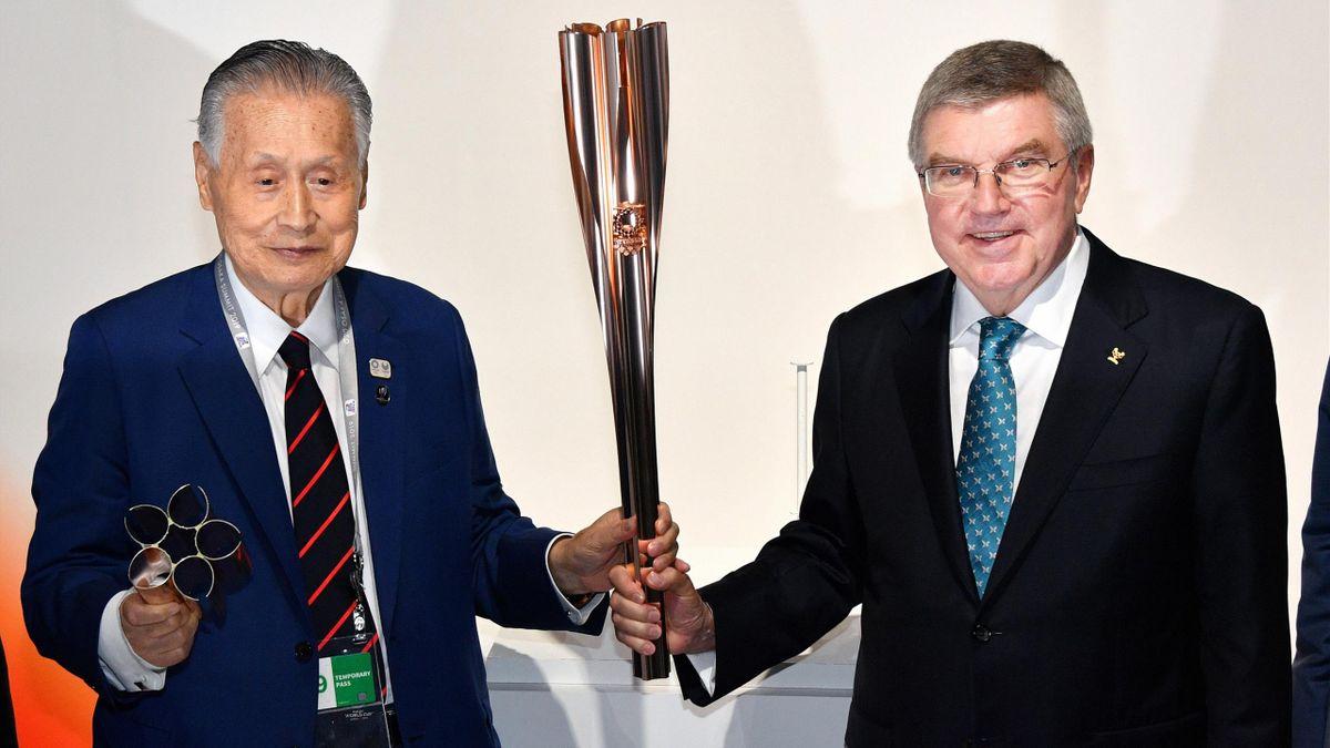 OK-Chef Yoshiro Mori und IOC-Präsident Thomas Bach im Juni 2019