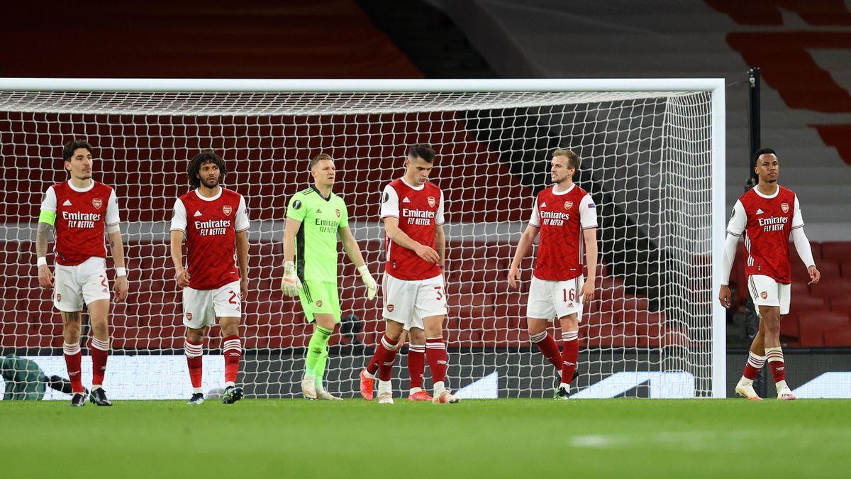 Die Profis des FC Arsenal nach dem Last-Minute-Ausgleich gegen Slavia Prag