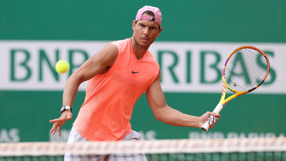 Rafa Nadal, în timpul unui antrenament la Monte Carlo