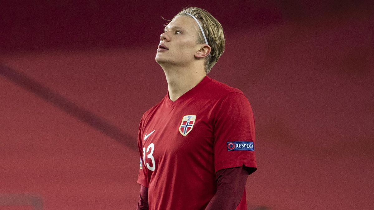Erling Braut Haaland of Norway during the UEFA Nations League group stage match between Norway and Northern Ireland at Ullevaal Stadion on October 14, 2020 in Oslo, Norway