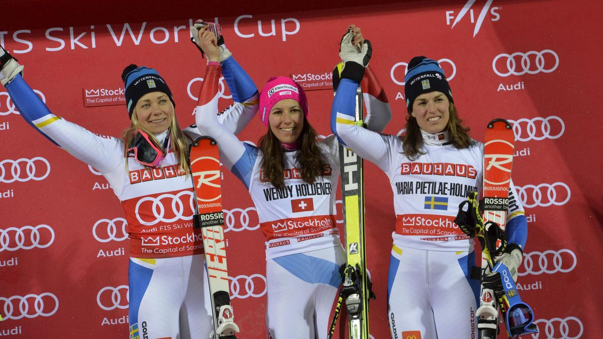Second placed Frida Hansdotter of Sweden, first placed Wendy Holdener of Switzerland and third placed Maria Pietilae-Holmner of Sweden stand on the podium at the woman's Parallel Slalom City Event of the FIS Alpine Skiing World Cup in Stockholm, Sweden Fe