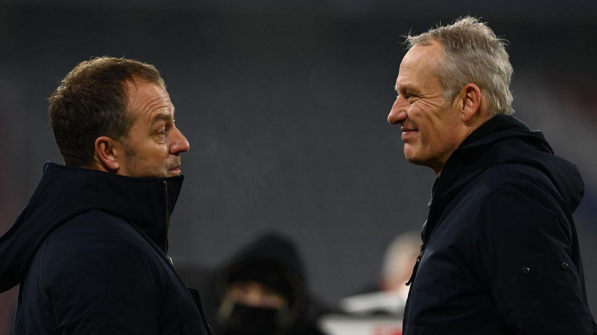 Hansi Flick (links; FC Bayern) und Christian Streich (SC Freiburg)