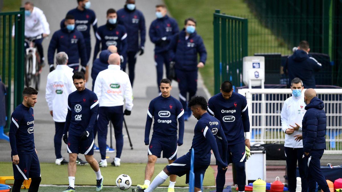 Les Bleus à l'entraînement à Clairefontaine.