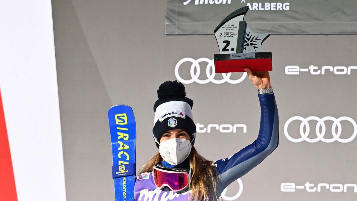 Marta Bassino esulta per il secondo posto nel Super-G di St Anton, Getty Images