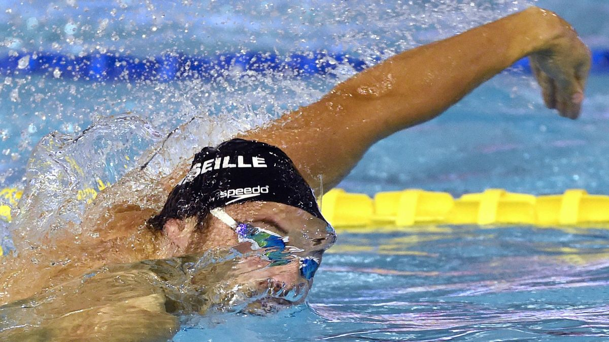 Florent Manaudou lors des séries du 100m NL à Montpellier - 21/11/2014