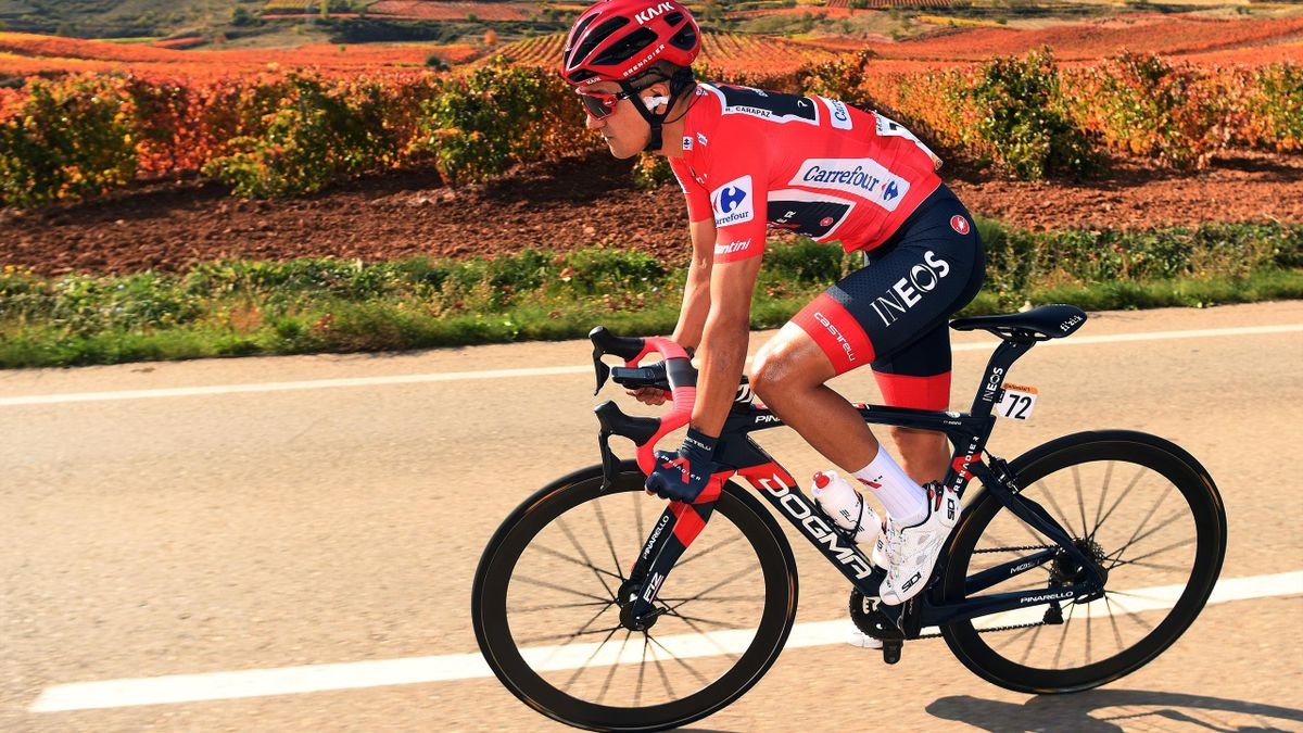 Race leader and red jersey, Richard Carapaz of Ineos Grenadiers, during stage 8 of the Vuelta a Espana 2020 / La Vuelta