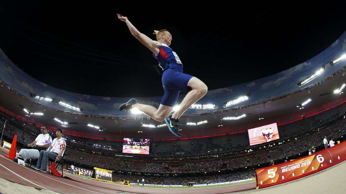 Britain's Greg Rutherford competes to win the men's long jump
