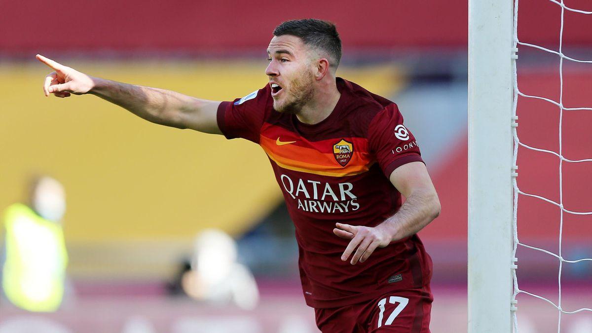 Jordan Veretout esulta per il gol del vantaggio in Roma-Udinese, Serie A 2020-21, Getty Images