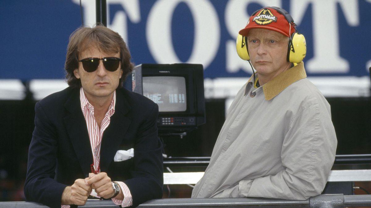Luca Cordero di Montezemolo e Niki Lauda sul circuito di Silverstone nel 1992