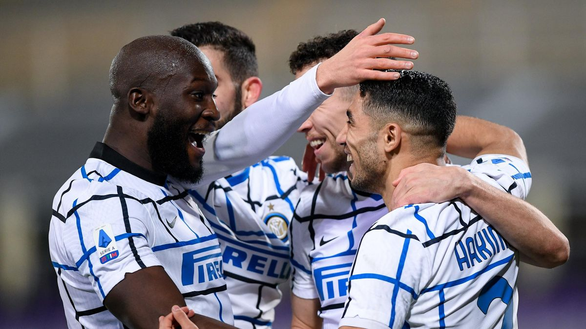 Ivan Perisic of FC Internazionale celebrates with Romelu Lukaku of FC Internazionale after scoring second goal during the Serie A match between ACF Fiorentina and FC Internazionale at Stadio Artemio Franchi, Florence, Italy on 5 February 2021