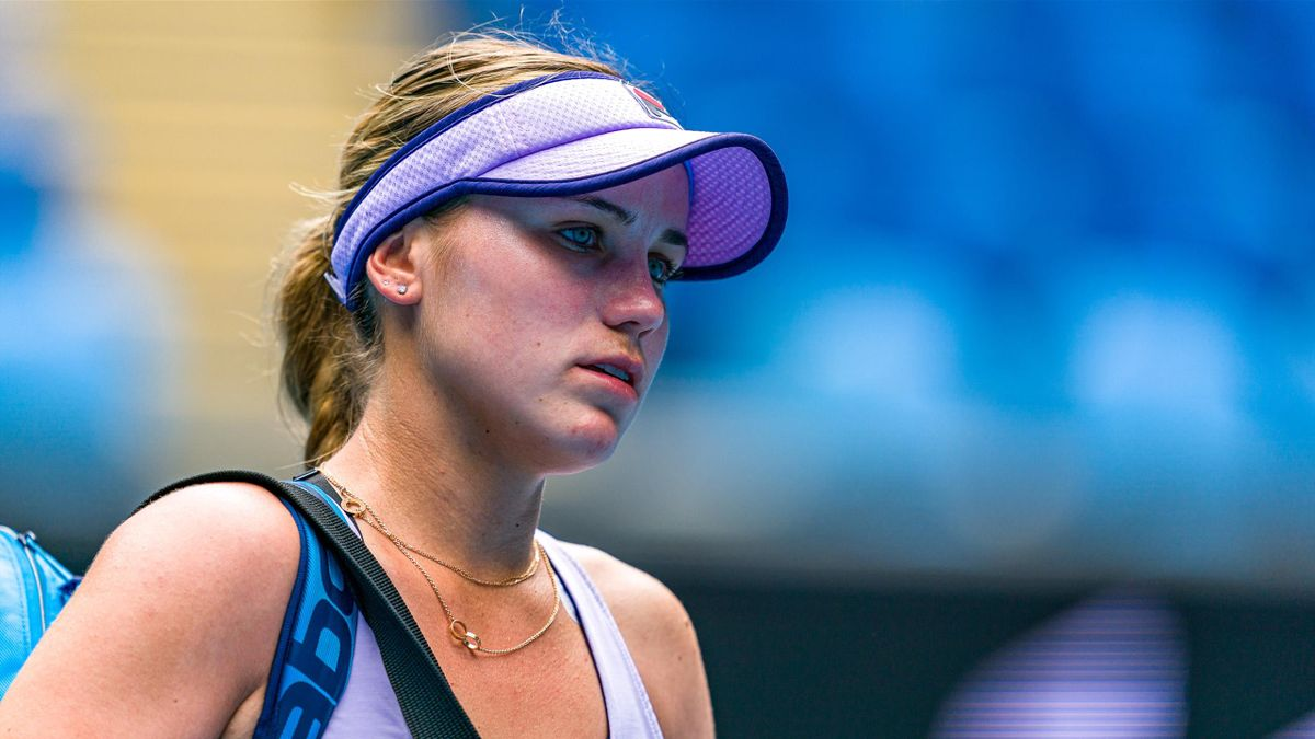 Sofia Kenin of the United States of America leaves the arena following defeat in her Women's Singles second round match against Kaia Kanepi of Estonia during day four of the 2021 Australian Open at Melbourne Park