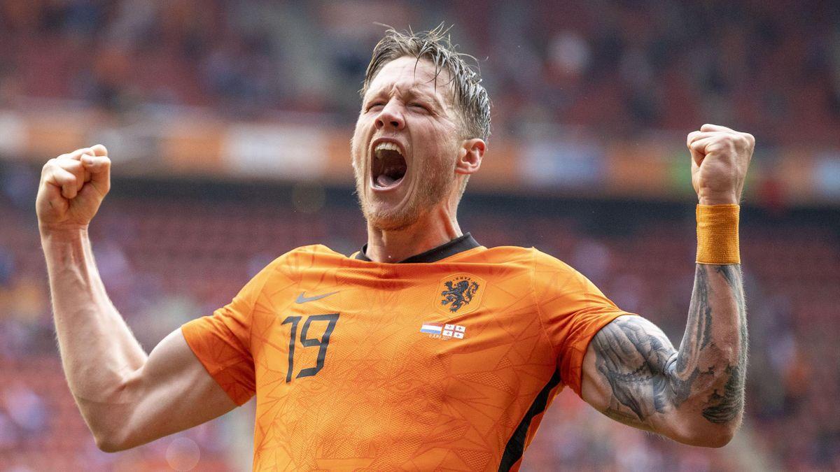 Wout Weghorst jubelte im EM-Testspiel gegen Goergien über sein erstes Tor für die Niederlande