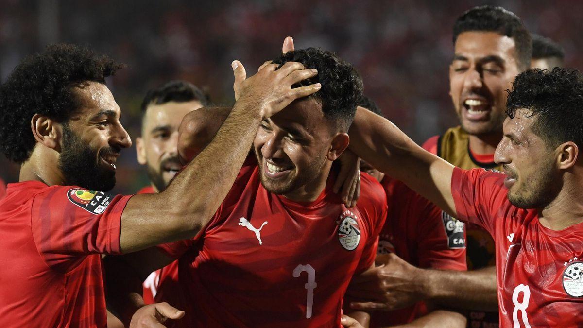 L'esultanza dei giocatori dell'Egitto - Coppa d'Africa 2019