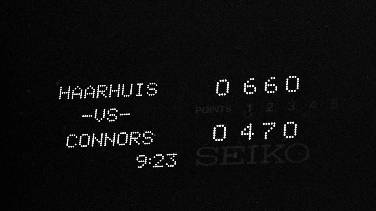 Het scorebord tijdens de memorabele wedstrijd van Haarhuis en Connors op de US Open 1991