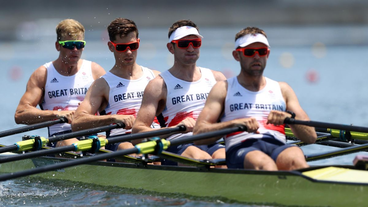 TOKYO, JAPAN - JULY 23: Jack Beaumont, Tom Barras, Angus Groom and Harry Leask of Team Great Britain compete during the Men's Quadruple Sculls Heat 1 during the Tokyo 2020 Olympic Games at Sea Forest Waterway on July 23, 2021 in Tokyo, Japan. (Photo by Na