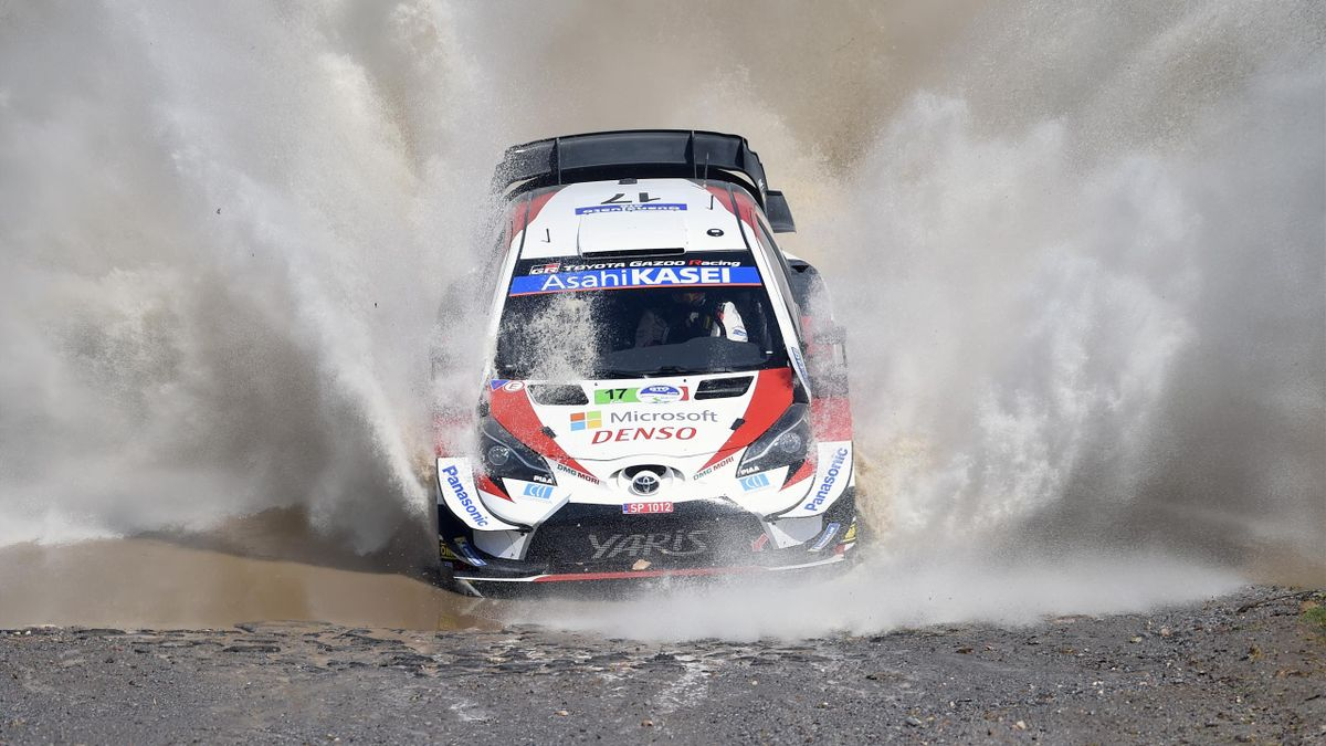 French rally driver Sebastien Ogier and French co-driver Julien Ingrassia of the Toyota Yaris WRT drive, compete during the first stage of the FIA World Rally Championship in Silao, Guanajuato State, Mexico on March 13, 2020