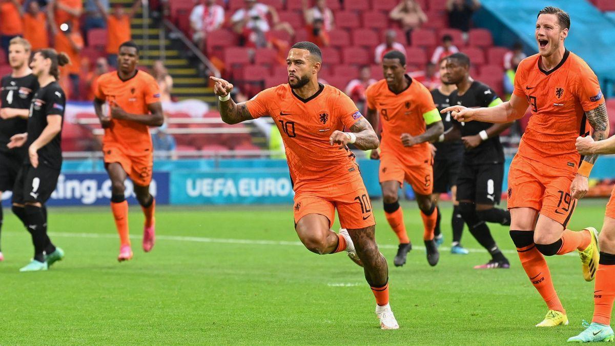 Memphis Depay (Netherlands) scored a goal against Austria / Euro 2020