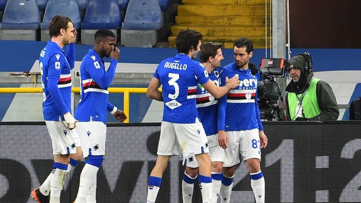 Sampdoria-Udinese, esultanza blucerchiata