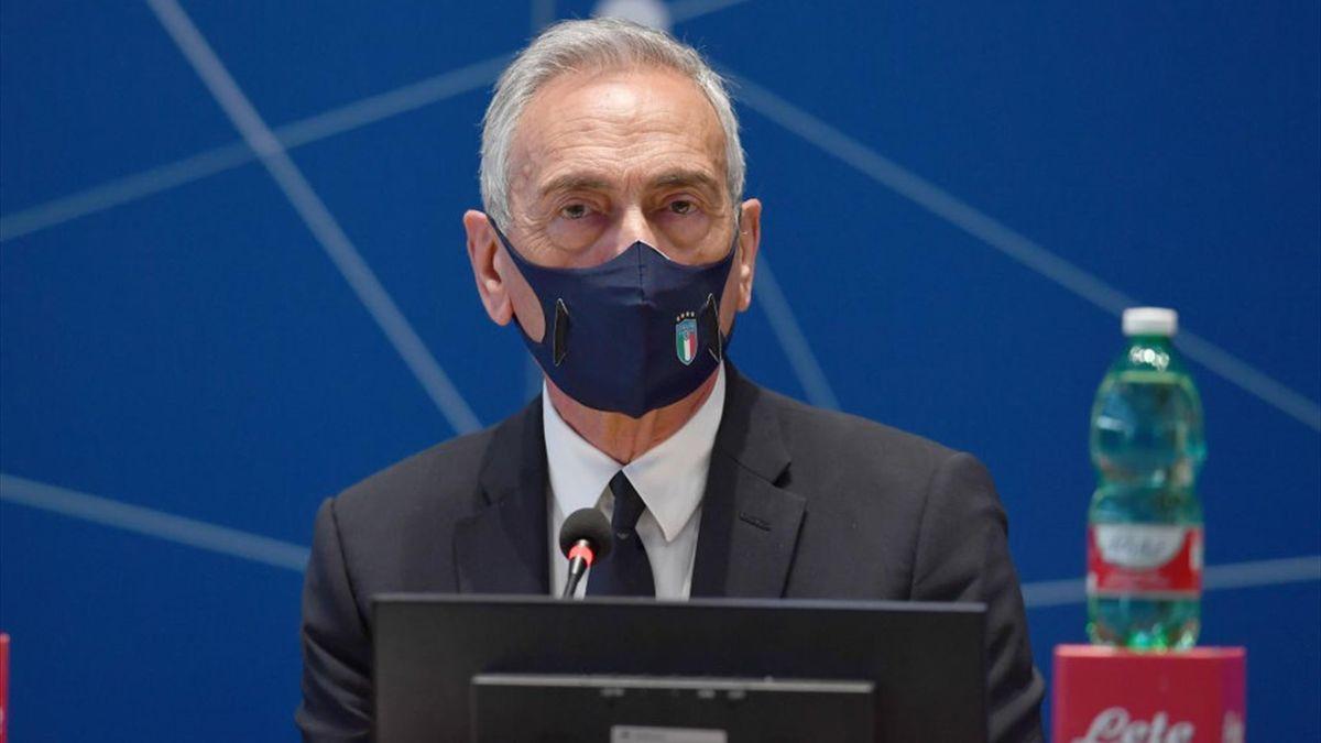 Gabriele Gravina durante un Consiglio Federale della FIGC - Getty Images