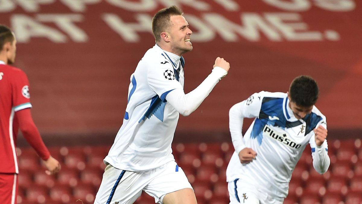 Josip Ilicic celebrates scoring for Atalanta against Liverpool