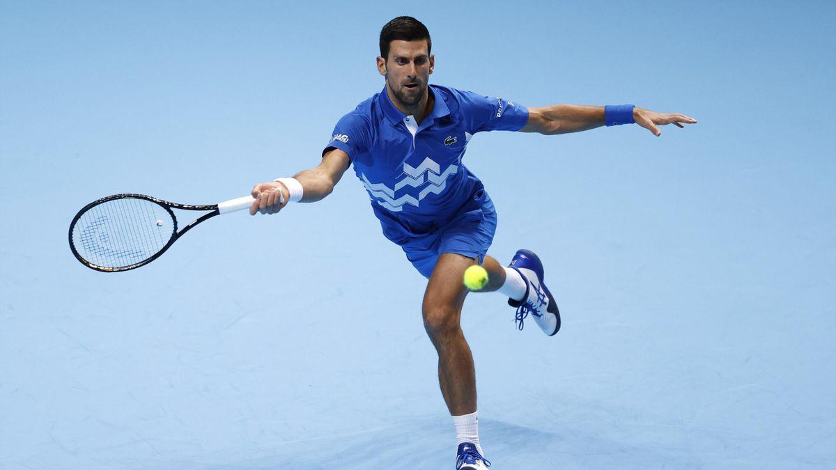 Novak Djokovic lors de son match face à Diego Schwartzman au Masters de Londres