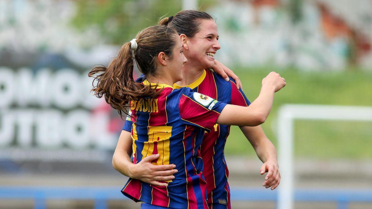: Bruna Vilamala of FC Barcelona celebrates a goal, April 28, 2021