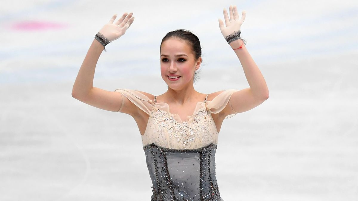 Alina Zagitova of Russia celebrates after the Ladies short program during day 1 of the ISU World Figure Skating Championships 2019 at Saitama Super Arena on March 20, 2019 in Saitama, Japan