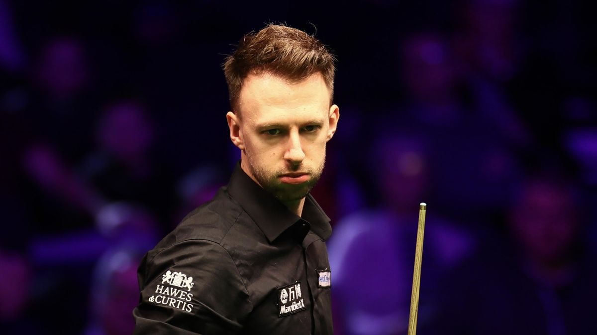 Judd Trump of England reacts during the 1st round match against James Cahill of England on day one of the 2020 ManBetX Welsh Open at the Motorpoint Arena on February 10, 2020 in Cardiff, Wales.