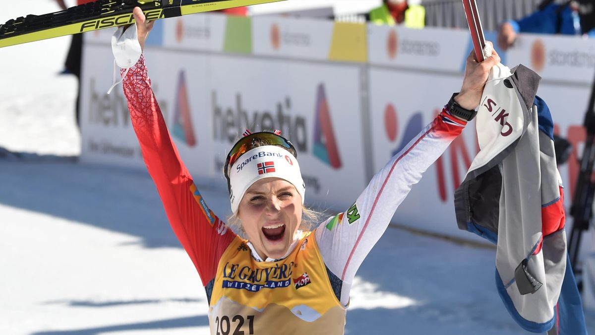 Norway's Therese Johaug celebrates after winning the women's 10km interval start race at the FIS Nordic Ski World Championships in Oberstdorf, southern Germany, on March 2, 2021