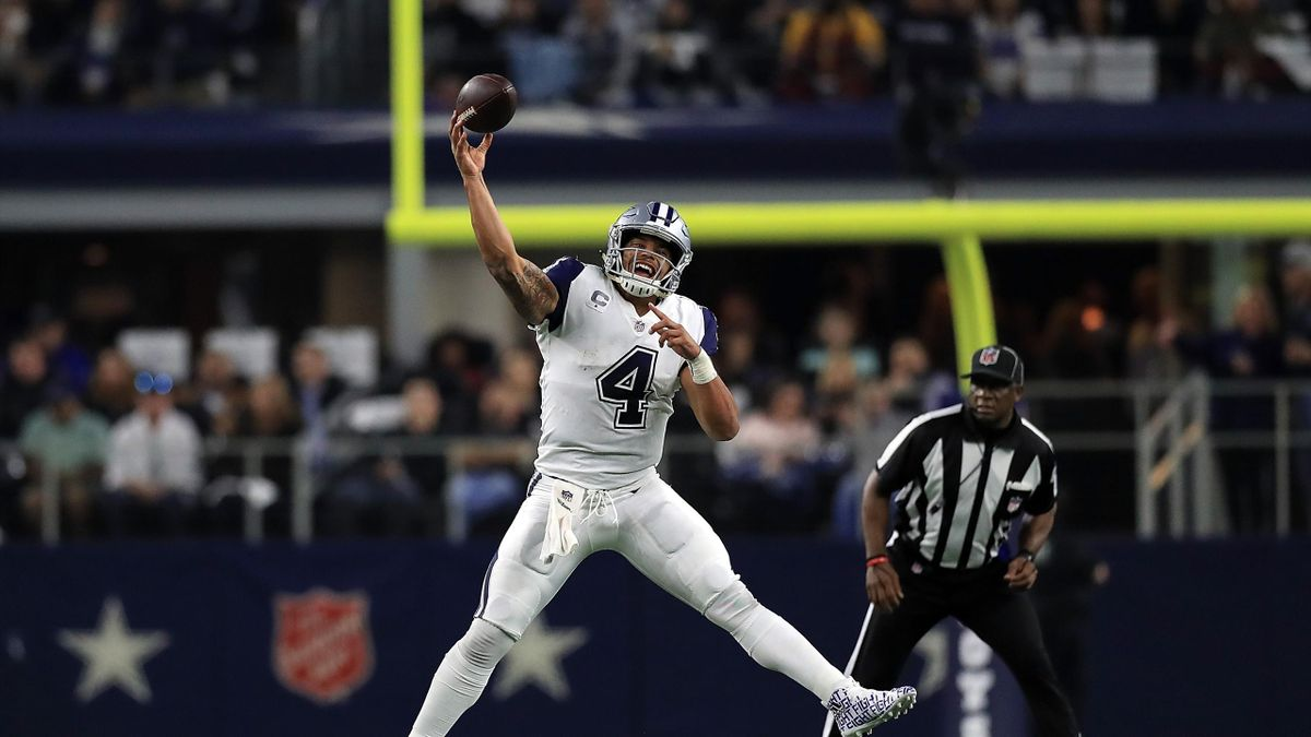 Dak Prescott #4 of the Dallas Cowboys throws against the Washington Redskins in the third quarter at AT&T Stadium on November 30, 2017 in Arlington, Texas.