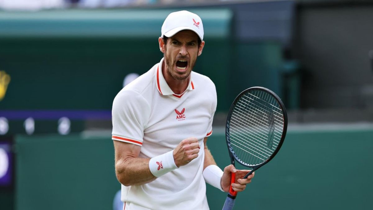 Andy Murray of Great Britain celebrates in his Men's Singles First Round match against Nikoloz Basilashvili of Georgia during Day One of The Championships - Wimbledon 2021 at All England Lawn Tennis and Croquet Club on June 28, 2021