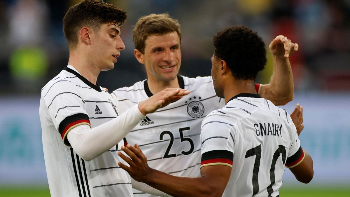 DFB-Angreifer Kai Havertz, Thomas Müller und Serge Gnabry (v.l.)