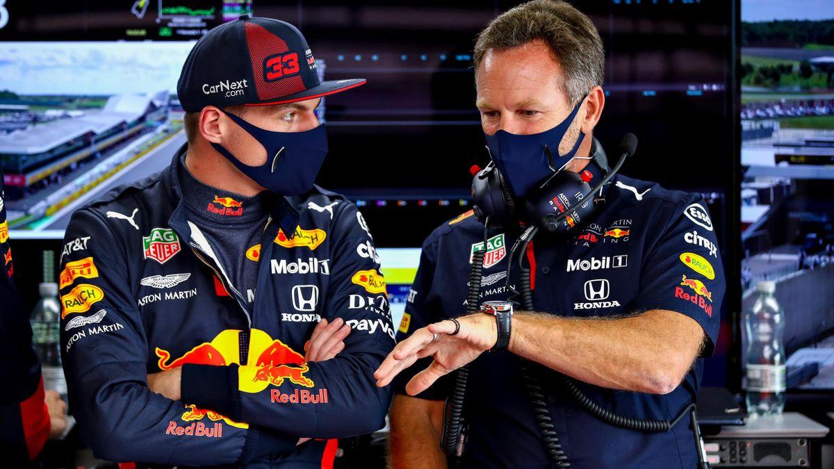 Max Verstappen (Red Bull) et Christian Horner lors du Grand Prix de Grande-Bretagne, le 1er août 2020