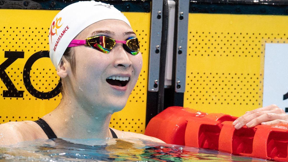 Rikako Ikee celebrates her 100m freestyle win at Japan's national championships