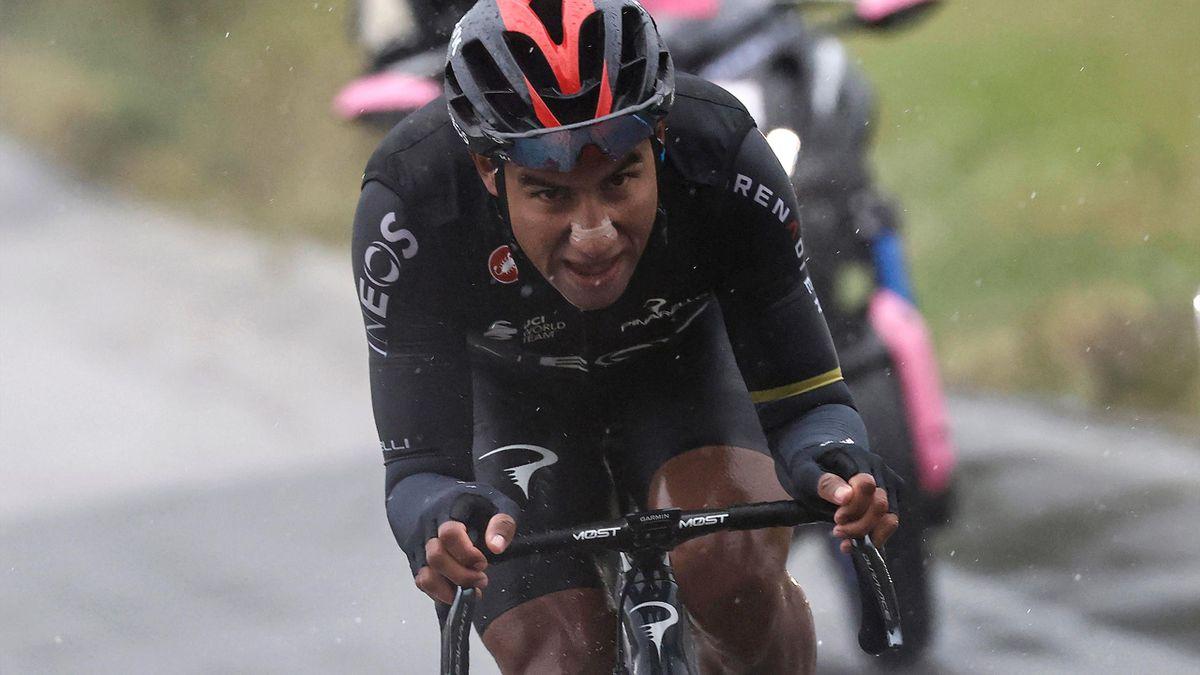 Le coureur Ineos équatorien Jhonatan Narvaez, vainqueur de la 12e étape du Giro