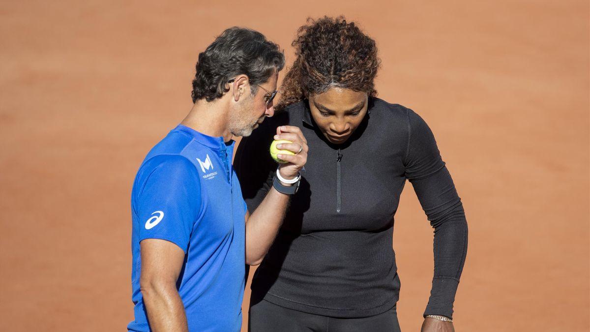 Patrick Mouratoglou et Serena Williams à l'entraînement