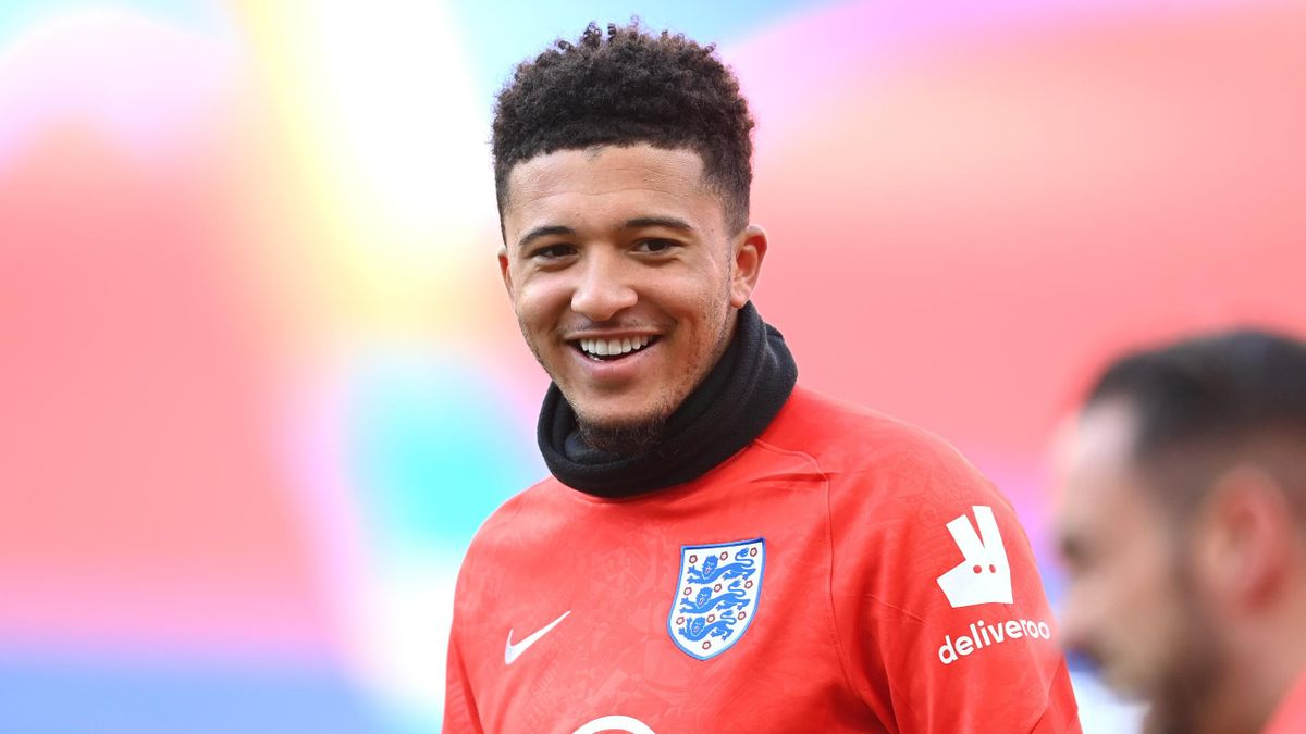 Jadon Sancho of England warms up ahead of the UEFA Nations League group stage match between England and Belgium at Wembley Stadium on October 11, 2020 in London, England.