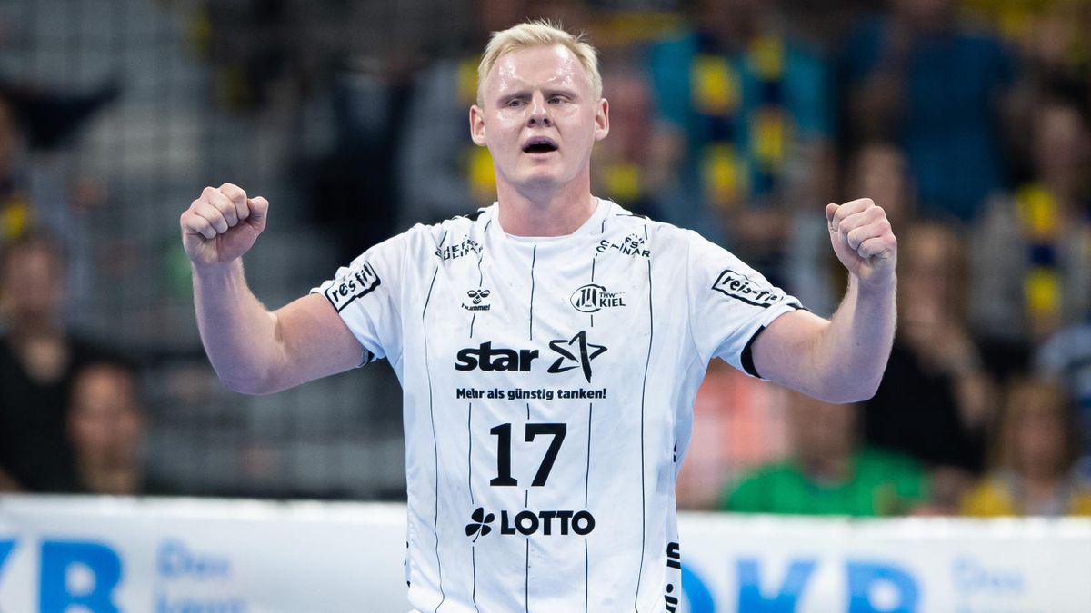 Patrick Wiencek vom THW Kiel jubelt