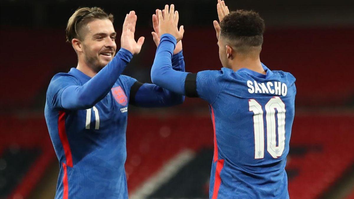 Jack Grealish and Jadon Sancho celebrate England's second against Ireland