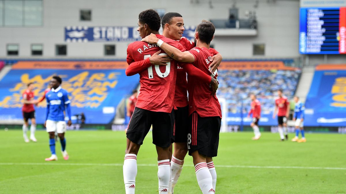 Marcus Rashford of Manchester United celebrates with teammates