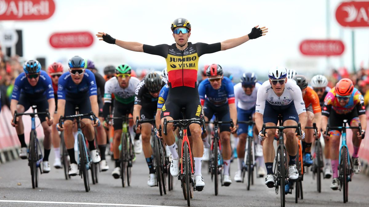 out Van Aert of Team Jumbo - Visma celebrates winning ahead of Mark Cavendish of United Kingdom and Team Deceuninck - Quick-Step, André Greipel of Germany and Team Israel Start-Up Nation and Ethan Hayter of United Kingdom at the Tour of Britain