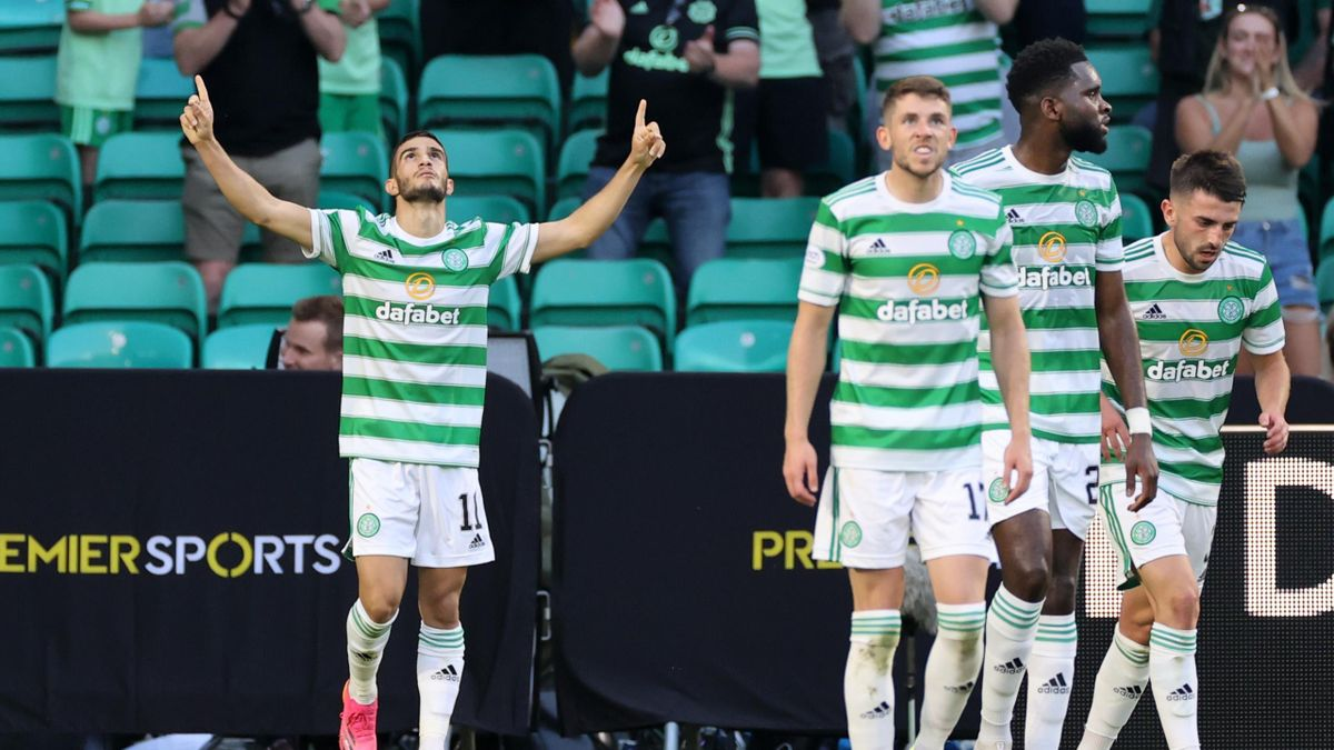 Liel Abada celebrates his goal for Celtic against FC Midtjylland, Parkhead, Glasgow, July 20, 2021