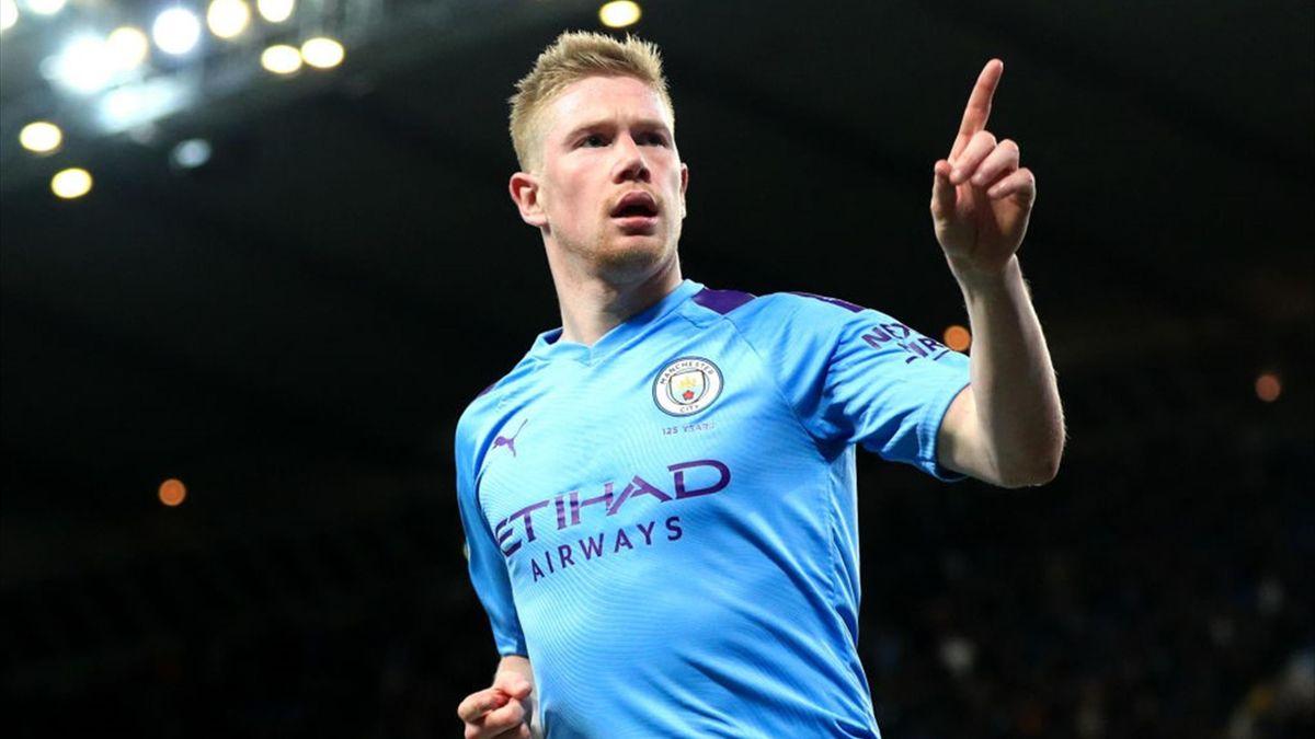 Kevin De Bruyne esulta dopo un gol segnato con la maglia del Manchester City