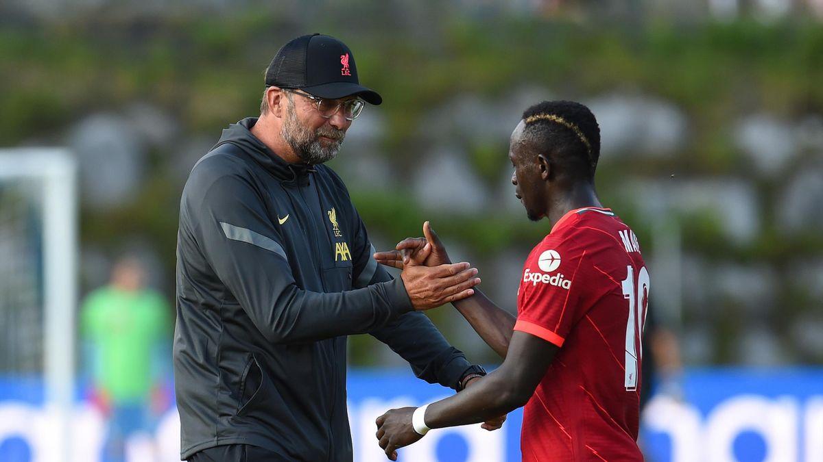 Jurgen Klopp congratulates Sadio Mane, Liverpool v VFB Stuttgart, Saalfelden, Austria, July 10, 2021