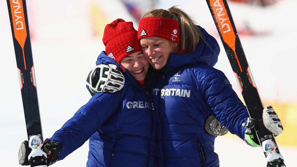 Menna Fitzpatrick and her guide Jennifer Kehoe of Great Britain celebrate