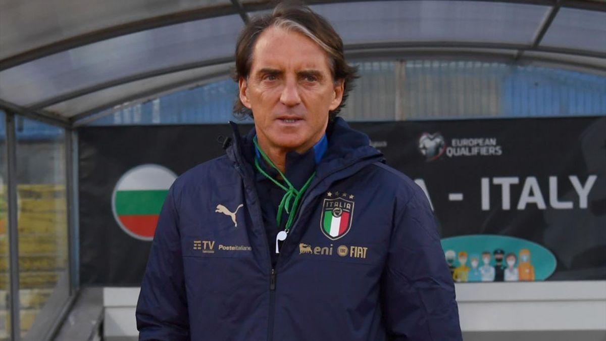 Roberto Mancini durante l'allenamento di rifinitura prima di Bulgaria-Italia - Qualificazioni Mondiali Qatar 2022 - Getty Images