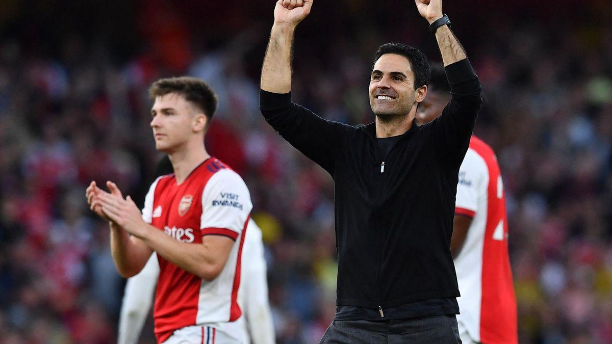 Mikel Arteta az Arsenal Tottenham elleni győzelmét ünnepli