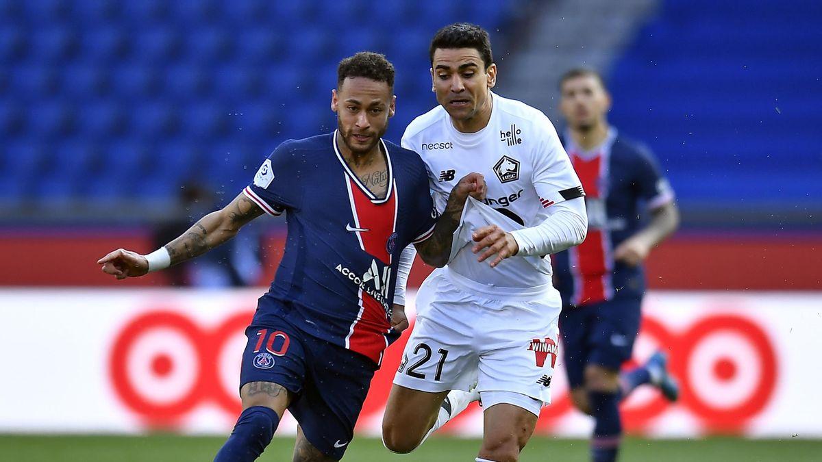 Neymar et Benjamin André lors de PSG-Lille