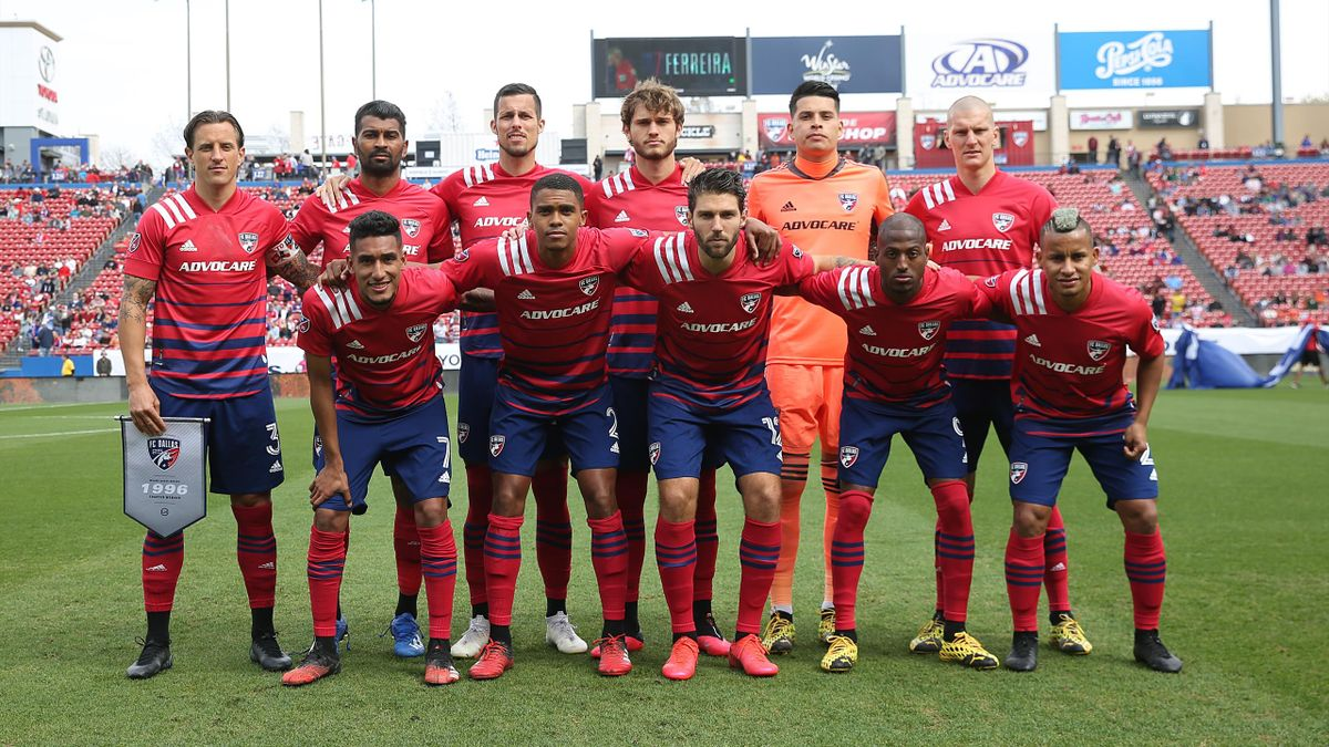 Players of FC Dallas pose for photo during an MLS match between FC Dallas and Montreal Impact at Toyota Stadium on March 7, 2020 in Texas City, Texas.